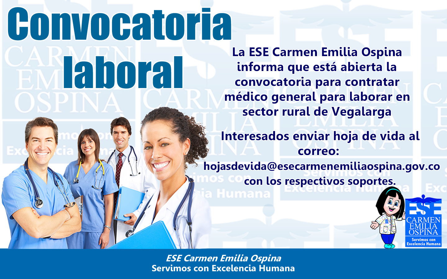 Convocatoria Laboral para contratar Médico General zona rural de Vegalarga