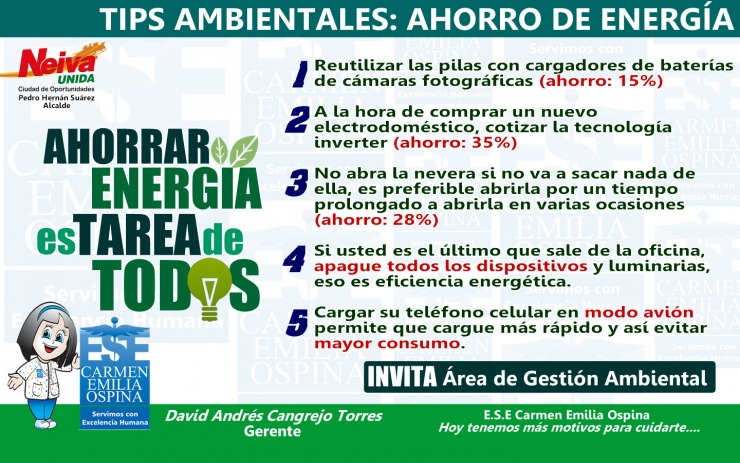 Tips Ambientales ESE Carmen Emilia Ospina: Ahorro de Energía