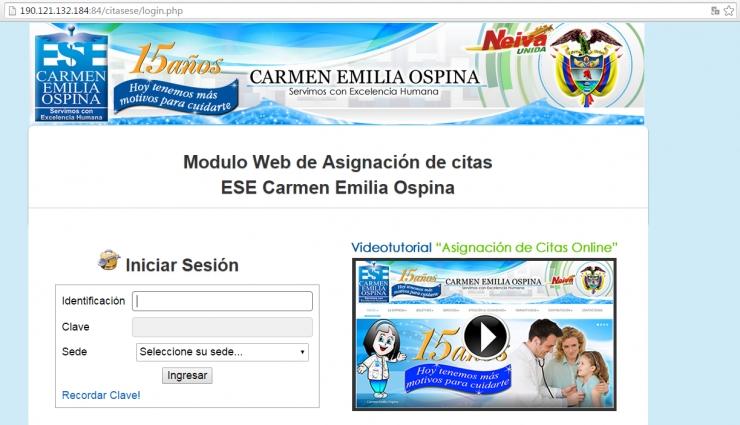 Módulo web de asignación de citas ESE Carmen Emilia Ospina